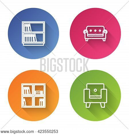 Set Line Library Bookshelf, Sofa, Shelf With And Armchair. Color Circle Button. Vector