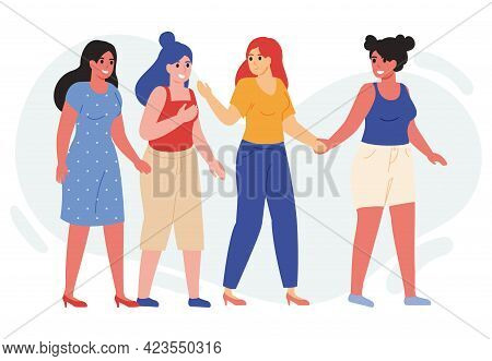 Female Friends Walk Together. Happy Young Girlfriends Walking Together And Chatting Vector Illustrat