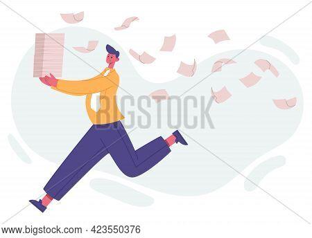 Unorganised Running Office Worker, Paperwork And Office Deadline