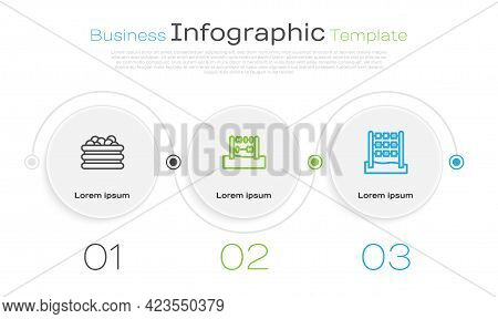 Set Line Pool With Balls, Abacus And Tic Tac Toe Game. Business Infographic Template. Vector