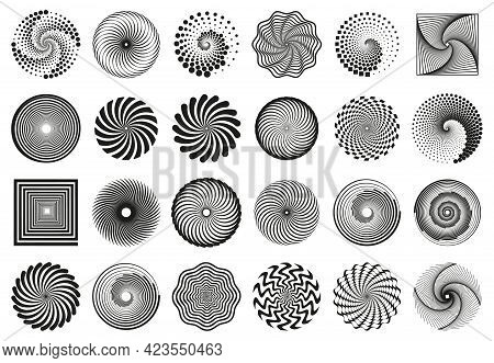 Swirl Spirals. Spiral Vortex Motion Elements, Vertigo Motion Swirl Spiral Silhouettes Vector Illustr