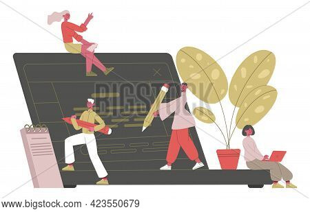 Creative Writing Concept. Writer, Journalists Or Freelance Bloggers Writing Text With Laptop Vector