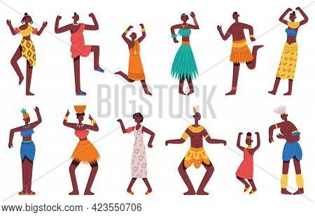 African Dancing People. Dancing Tribal Dance African Black Male And Female Characters Isolated Carto