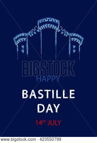 French National Day, 14th Of July. Happy Bastille Day. Template For Card, Poster, Flyer, Print. Vect