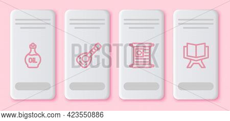 Set Line Essential Oil Bottle, Lute, Holy Book Of Koran And . White Rectangle Button. Vector