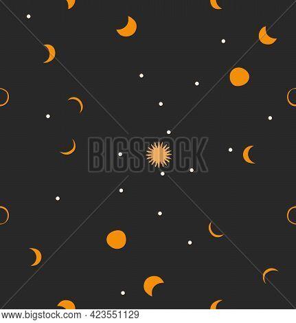 Hand Drawn Vector Abstract Stock Flat Graphic Illustration With Logo Element, Bohemian Magic Art Sea