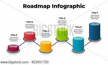 3d Roadmap. Vector Perspective Infographic. Presentation Slide Template. Six Steps, Options. Percent