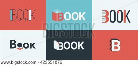 A Set Of Book Logos, Bookstore Logo Concepts. Symbol Of Knowledge, Learning And Education For Librar