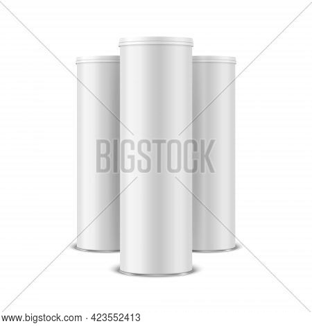 Three Vector 3d Realistic Blank White, Black Metal Tin Can With Lid, Canned Food, Potato Chips Packa