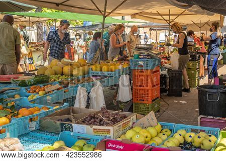 Campos, Spain; June 12 2021: Weekly Street Market Of Typical Food Of The Island Of Mallorca In The T