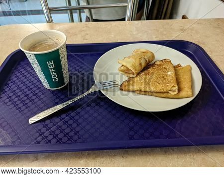 In The Russian Canteen, You Can Order A Delicious Set Menu For Little Money. Pancakes With Butter An