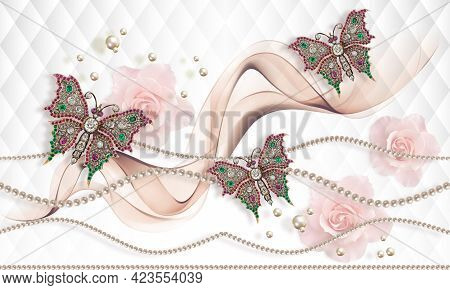 3d Wallpaper Texture, Satin Fabric Flowers, Pearls On White Abstract Background. 3d Illustration