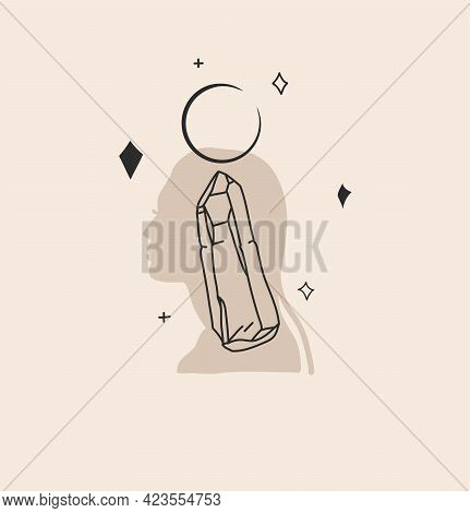 Hand Drawn Vector Abstract Stock Flat Graphic Illustration With Logo Element, Bohemian Magic Sacred