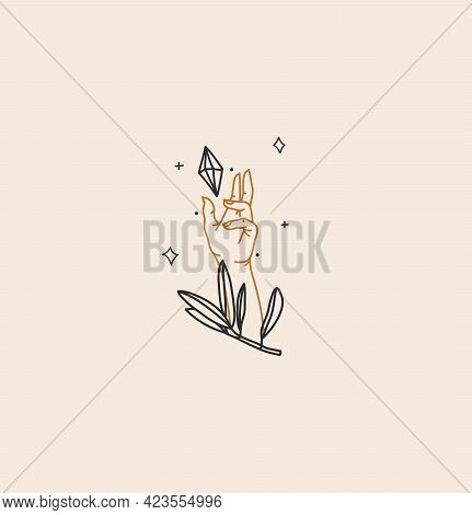 Hand Drawn Vector Abstract Stock Flat Graphic Illustration With Logo Element, Bohemian Magic Art Of