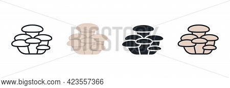 Oyster Mushroom Icon. Linear Flat Color Icons Contour Shape Outline. Thin Line. Black Vector Silhoue