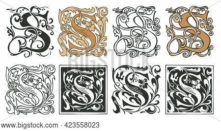 Vector Illustrations Of Uppercase Letter S With Decorations. Initial Letter S With Vintage Baroque O