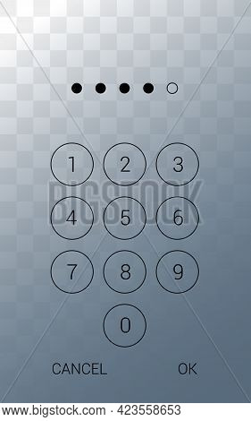 Illustration Of A Smartphone Display With A Touch Screen And A Numeric Keypad For Entering A Pin. Is