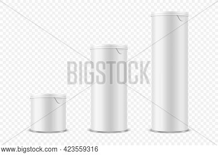 Vector 3d Realistic Blank Glossy White Metal Tin Can, Canned Food, Potato Chips Packaging With Lid S