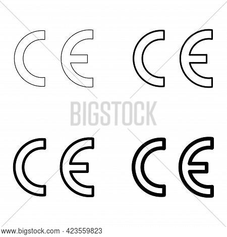 Set Of Ce Mark Symbol For Conformite Europeenne, Clean Label Product, Information Vector Illustratio