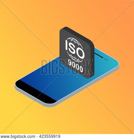 Iso 9000 Isometric Icon. Standard Quality Symbol. Vector Button Sign Isolated On Color Background .