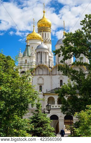 Cathedrals In Moscow Kremlin, Russia. Scenic View Of Old Patriarch's Palace And Ivan The Great Bell