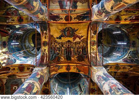 Moscow - June 2, 2021: Ceiling Inside The Dormition (assumption) Cathedral In Moscow Kremlin, Russia