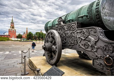 Tsar Cannon Or Tzar-pushka (king Of Cannons) Overlooking Moscow Kremlin Towers, Russia. It Is Famous