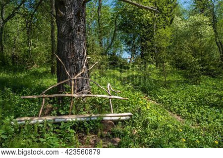 Original Wooden Bench On The Holy Spring Of St. Irinarch The Recluse In The Borisoglebsky District O