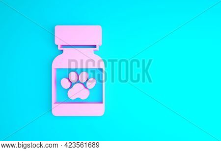 Pink Medicine Bottle And Pills Icon Isolated On Blue Background. Container With Pills. Prescription