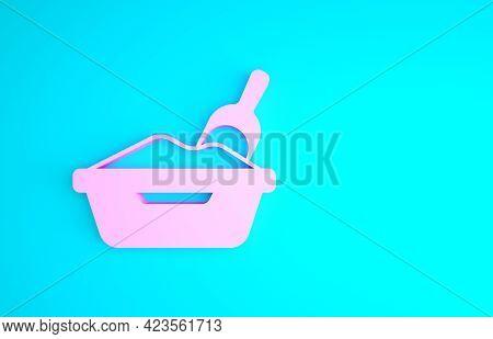 Pink Cat Litter Tray With Shovel Icon Isolated On Blue Background. Sandbox Cat With Shovel. Minimali