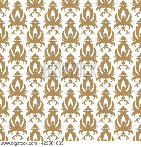 Vintage Arabesque Ornament, Vector Seamless Pattern In Neutral Color