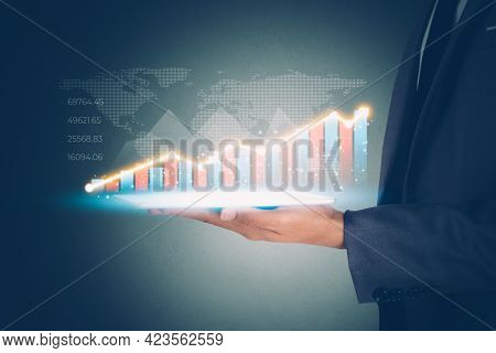 Businessman Hold Tablet And Graph Stock And Funds To Financial While Risk With Marketing, Investment