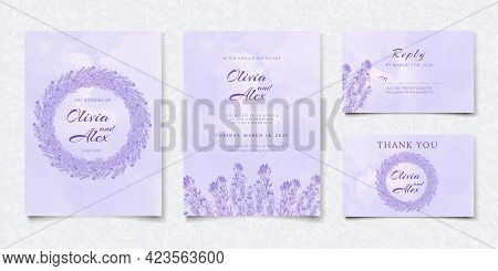 Watercolor Purple Floral Wedding Invitation Card, Save The Date, Thank You, Rsvp Template. Vector Vi