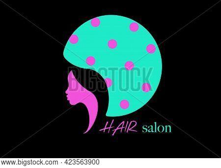 Logo Fashion Design Hair Salon Beauty Woman Face Profile And Hair Dryer Hood. Colorful Icon Women Pr