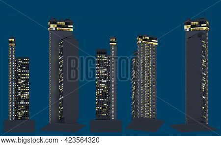 Hi-tech Fictional Towers At Dark Time With Lights On, Isolated Bottom View Metropolitan Nightlife Co