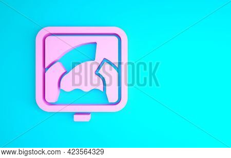 Pink Drawbridge Ahead Icon Isolated On Blue Background. Information Road Sign. Minimalism Concept. 3