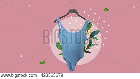 One-piece Classic Blue Swimsuit. Bathing Suit. Stringbody Women Body. Ladies Clothes For Summer Vaca