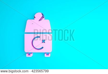 Pink Donate Or Pay Your Zakat As Muslim Obligatory Icon Isolated On Blue Background. Muslim Charity