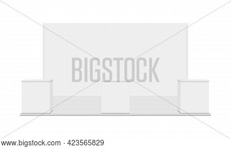 Exhibition Booth With Tables Isolated On White Background, Front View. Vector Illustration