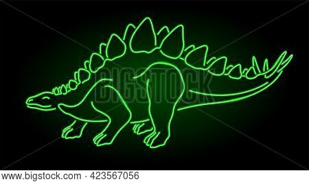 Beautiful Vector Linear Illustration With Colorful Neon Green Stylized Shiny Stegosaurus Silhouette