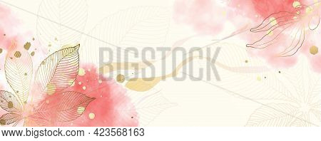 Luxurious Golden Wallpaper. White Background And Spots Of Pink Watercolor. Golden Chestnut Leaves Wa