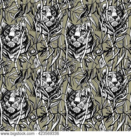 Tiger Seamless Pattern. Exotic Jungle Background With Drawn Tropical Bamboo Leaves And Trees. Black