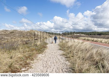Mature Woman Walking With Her Dog On A Sandy Path At The Side Of A Country Road In The Dune Reserve