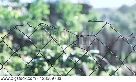 Steel Wire Fence In An Agricultural Farm In The Village Of Ukraine Country. Fencing A Vegetable Gard