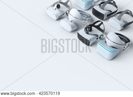 Top View Virtual Reality Glasses For Online And Cloud Gaming On White Background. 3d Rendering Of De