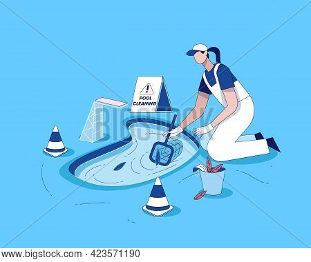 Swimming Pool Cleaning With Cleaning Equipment Flat Illustration Vector, Pool Maintenance Concept, S