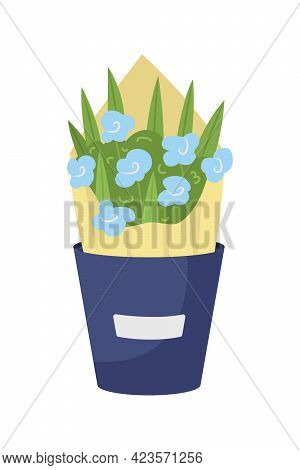 Blue Flowers Arrangement Semi Flat Color Vector Object. Happy Birthday Gift. Bouquet With Hydrangea,