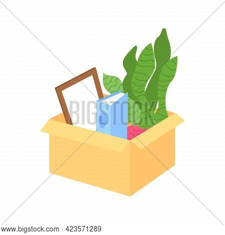 Packing Things In Box For Moving Semi Flat Color Vector Object. Items Organization. Employee Departu
