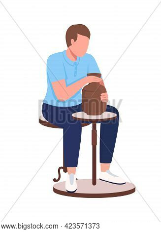 Ceramic Artist Making Pottery Semi Flat Color Vector Character. Young Man Figure. Full Body Person O