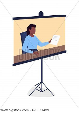 Portable Screen With Online Course Displaying Flat Color Vector Object. High Quality Picture With Pr